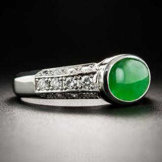 Natural Burma Oval Jade Platinum Diamond Ring