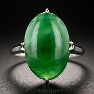 Natural Burma Oval Jade Vintage Platinum Ring