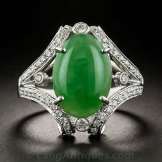 Natural Burma Platinum Jade and Diamond Ring
