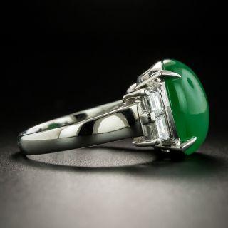 Natural Burmese 8.91 Carat Jade and Diamond Ring