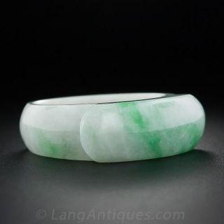 Natural Burmese Carved Jade Saddle Ring