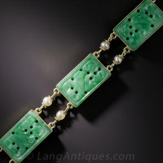 Natural Burmese Carved Jadeite And  Pearl Bracelet - 1