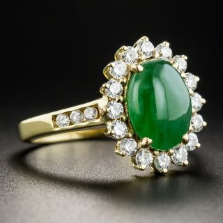 Natural Burmese Jade and 18K Diamond Ring