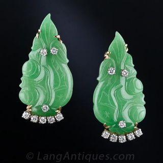 Natural Burmese Jade and Diamond  Leaf  Earrings - 2