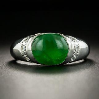 Natural Burmese Jade and Diamond Platinum Ring - 1