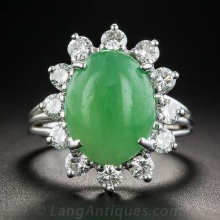 Natural Burmese Jade and Diamond Ring - 1