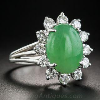 Natural Burmese Jade and Diamond Ring