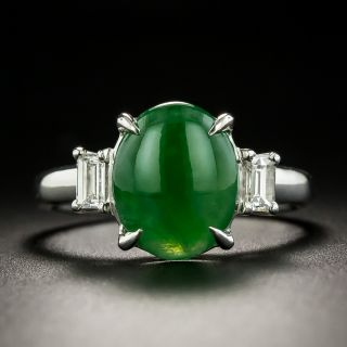 Natural Burmese Jade Cabochon and Diamond Ring - 1