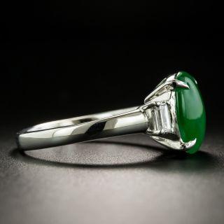 Natural Burmese Jade Cabochon and Diamond Ring