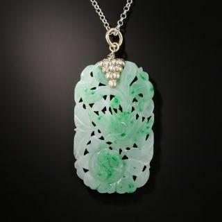 Natural Burmese Jade Carved Plaque Pendant