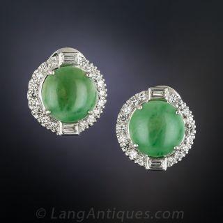 Natural Burmese Jade Diamond Earrings - 1