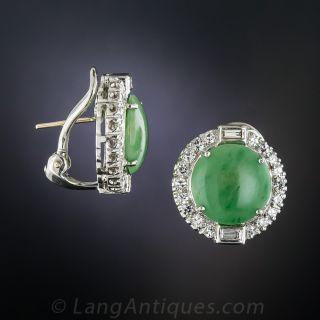Natural Burmese Jade Diamond Earrings