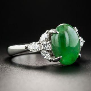 Natural Burmese Jade Platinum and Diamond Ring
