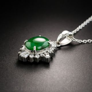 Natural Burmese Jade Platinum Diamond Drop Necklace