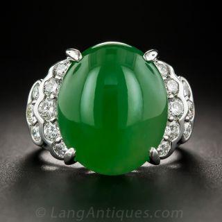 Natural Burmese Jade Platinum Diamond Ring