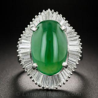 Natural Burmese Jade Platinum Diamonds Ballerina Ring