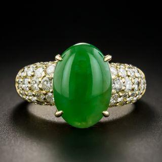 Natural Burmese Jadeite and 18K Pavé Diamond Ring - 1