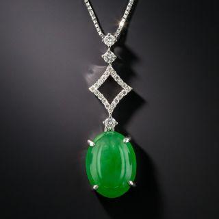 Natural Burmese Jadeite and Diamond Pendant
