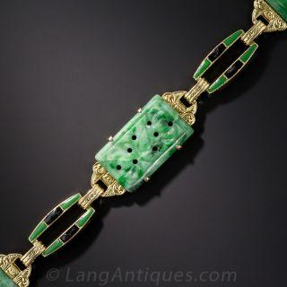 Natural Burmese Jadeite and Enamel Bracelet by Diana-Krementz - 1