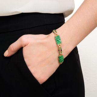 Natural Burmese Jadeite and Enamel Bracelet by Diana-Krementz