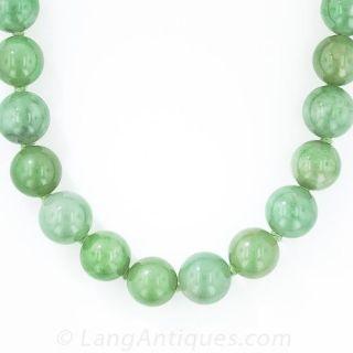 Natural Burmese Jadeite Bead Necklace