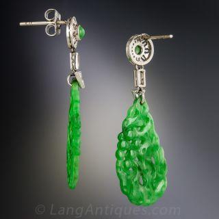 Natural Burmese Jadeite Carved and Diamond Art Deco Drop Earrings