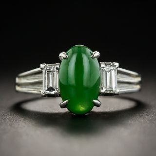Natural Burmese Jadeite Jade and Diamond Ring - 1