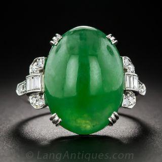 Natural Burmese Jadeite Platinum and Diamond Art Deco Ring - 1