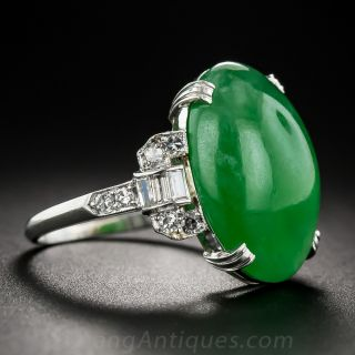 Natural Burmese Jadeite Platinum and Diamond Art Deco Ring
