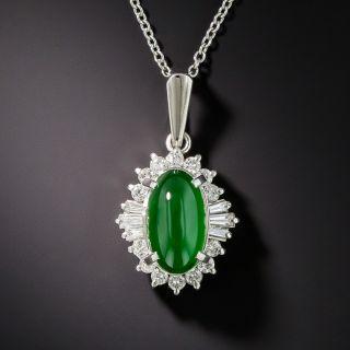 Natural Burmese Jadeite Platinum Diamond Pendant - 1