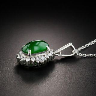 Natural Burmese Jadeite Platinum Diamond Pendant