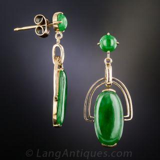 Natural Burmese Jadeite Vintage Drop Earrings