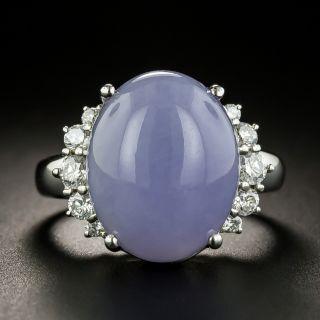 Natural Burmese Lavender Jade and Diamond Ring - 2