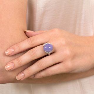 Natural Burmese Lavender Jade and Diamond Ring