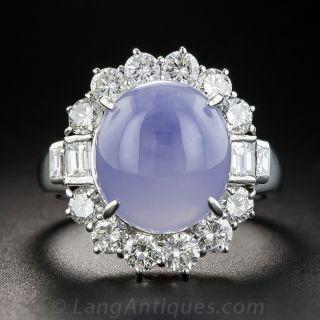 Natural Burmese Lavender Jadeite Platinum and Diamond Ring