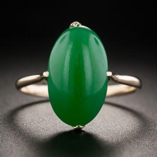 Natural Burmese Oval Jade Cabochon Ring