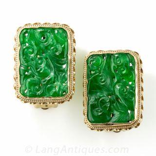 Natural Carved Jadeite Earrings