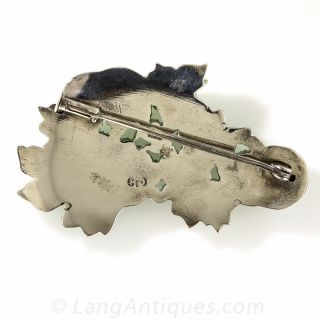 Natural Carved Jadeite Jade and Silver Brooch