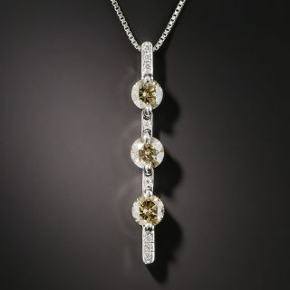 Natural Cognac and White Diamond Pendant Necklace - 1