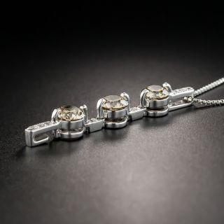 Natural Cognac and White Diamond Pendant Necklace