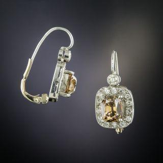 Natural Cognac Antique Cushion-Cut Diamond Drop Earrings  - 2