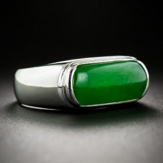 Natural Color Jadeite Saddle Ring