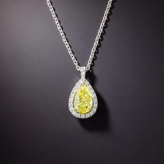 Natural Fancy Intense Yellow 2.01 Carat Pear-Shape Diamond Pendant - GIA - 3