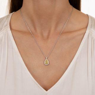 Natural Fancy Intense Yellow 2.01 Carat Pear-Shape Diamond Pendant - GIA