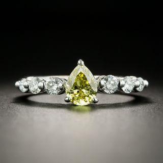 Natural Fancy Intense Yellow .61 Carat Pear-Cut Diamond Engagement Ring - GIA - 1