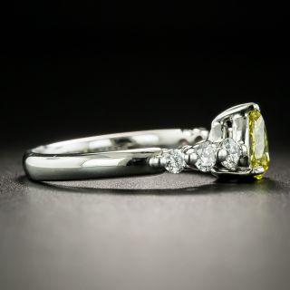 Natural Fancy Intense Yellow .61 Carat Pear-Cut Diamond Engagement Ring - GIA