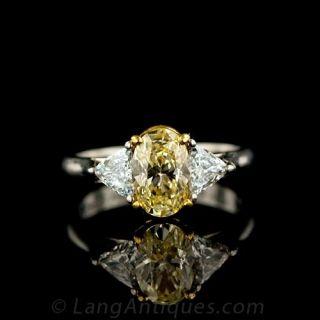 Fancy Yellow Estate Diamond Engagement Ring