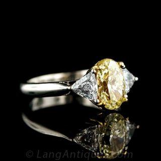 Natural Fancy Yellow Diamond Estate Engagement Ring
