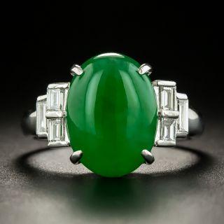 Natural Jade and Baguette Diamond Ring - GIA - 3