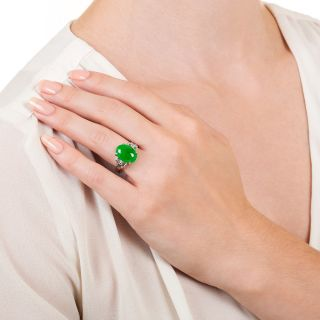 Natural Jade and Baguette Diamond Ring - GIA